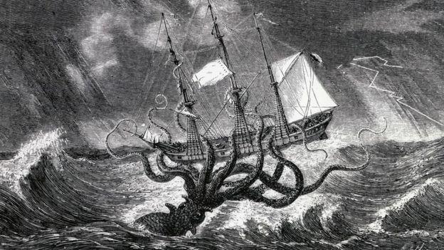 Una ilustración de un calamar gigante atacando un barco