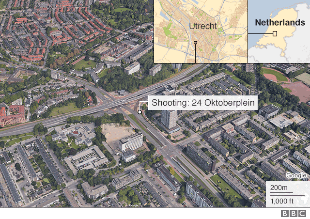 Map of Utrecht shooting 18 March 2019