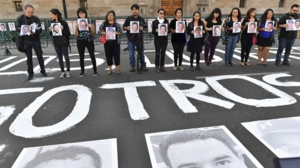 Protesta por el asesinato de periodistas en México.