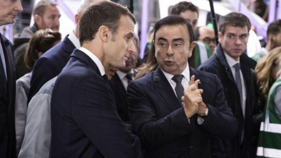 Carlos Ghosn con el presidente de Francia, Emmanuel Macron.