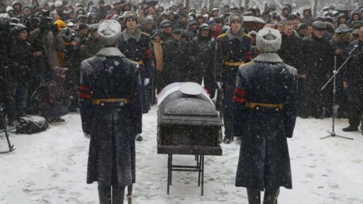 A funeral ceremony for the pilot of a Russian jet downed by Turkey