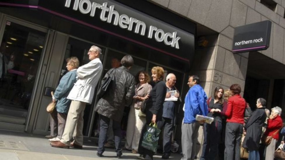 People queuing outside a branch of Northern Rock at the height of the banking crisis in 2008