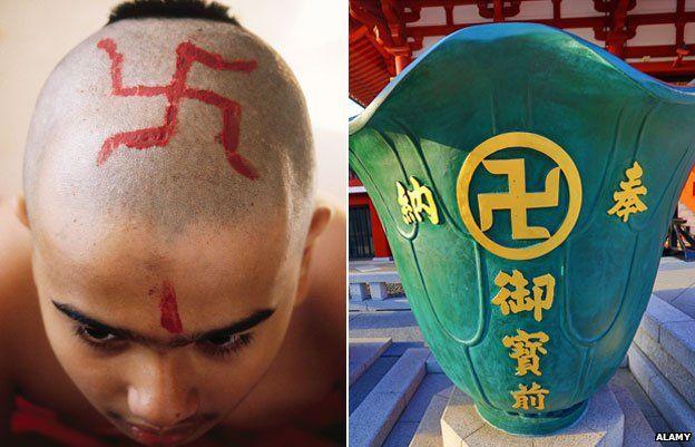 Muchacho indio con esvástica en la cabeza, y el florero en Sensoji Templo de Asakusa Kannon, Tokio, Japón