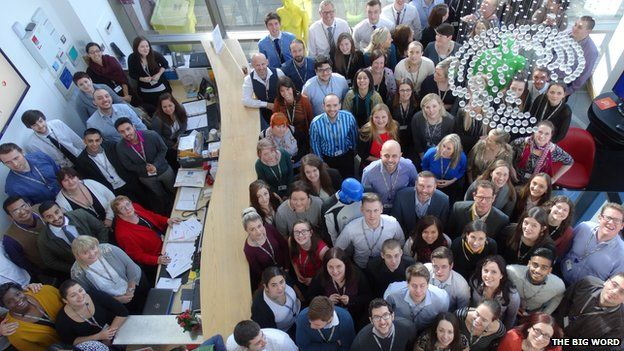 Thebigword staff taken from above