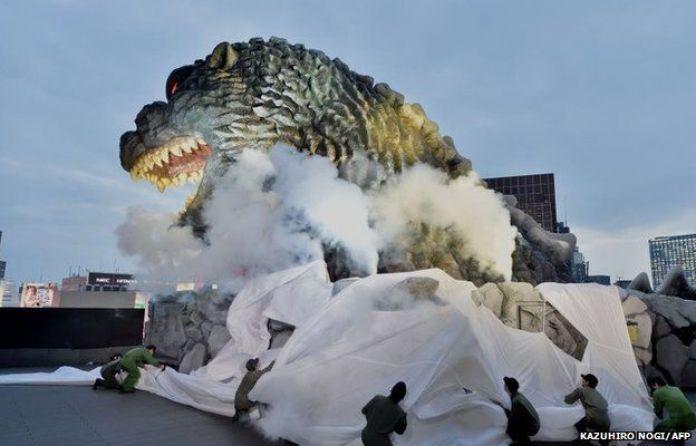 A life-size Godzilla head on the eighth floor of Hotel Gracery Shinjuku in Tokyo, Japan