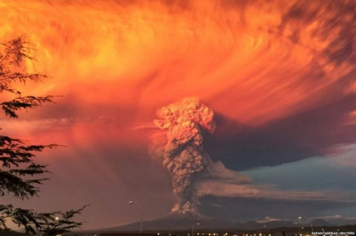 Smoke and ash rise from the Calbuco volcano