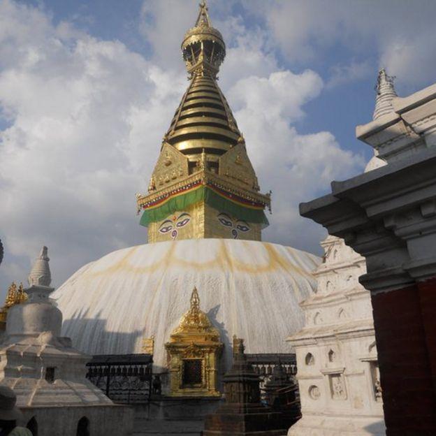 Monkey temple or Syambhunaath Stupa near Kathmandu in Nepal (2010)