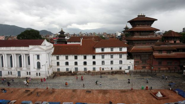 A general view of Hanuman Dhoka Durbar Square in Kathmandu on June 28, 2011