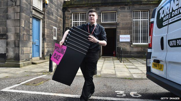 Ballot boxes were loaded up in Edinburgh ahead of the count