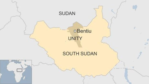 Map of South Sudan showing Unity State and Bentiu