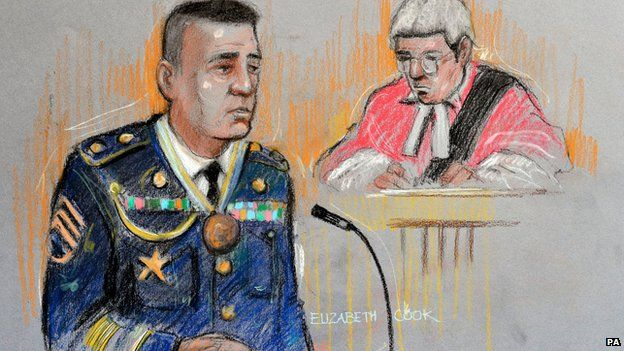 US Army Staff Sergeant Mark Aggers, in the witness box at Woolwich Crown Court for the trial against Anis Sardar,