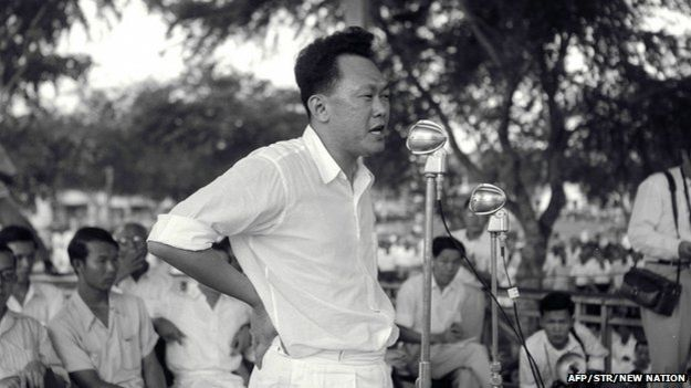 Singapore's first Prime Minister Lee Kuan Yew speaks during a rally at Farrer park in Singapore on 15 August 1955