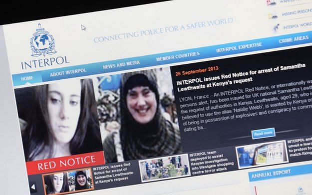 A computer screen showing the Interpol appeal for Samantha Lewthwaite