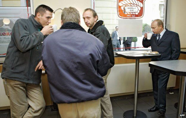 Putin in a cafe, Dresden 2006