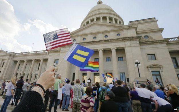 Demonstrators in Little Rock