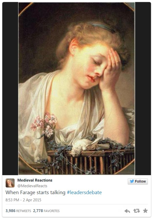 Tweet by Medieval Reactions on Nigel Farage - 2 April 2015