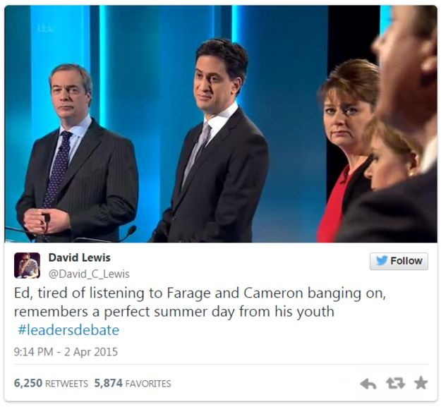 Tweet by David Lewis on Ed Miliband drifting off during the debate - 2 April 2015