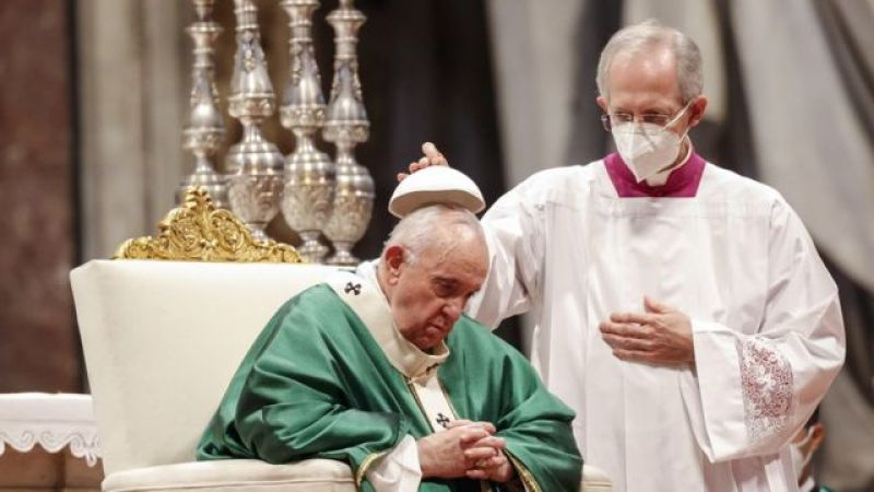Pope Francis in St. Peter's Basilica for Holy Mass on Sunday, October 10, 2021
