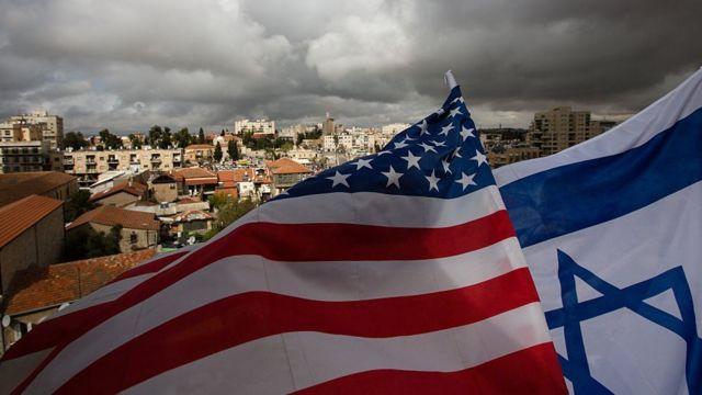 Banderas de EE.UU. e Israel