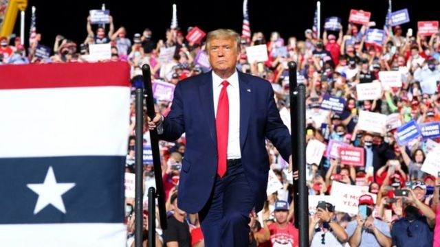 US President Donald Trump during a campaign rally in Gastonia, North Carolina. Photo: 21 October 2020