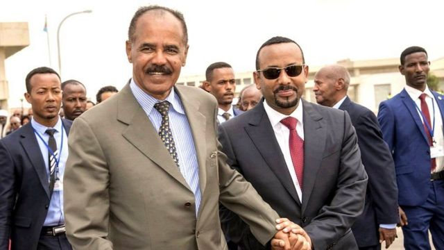 President Isaias Afwerki (left) welcomed Ethiopia's Prime Minister Abiy Ahmed to Asmara