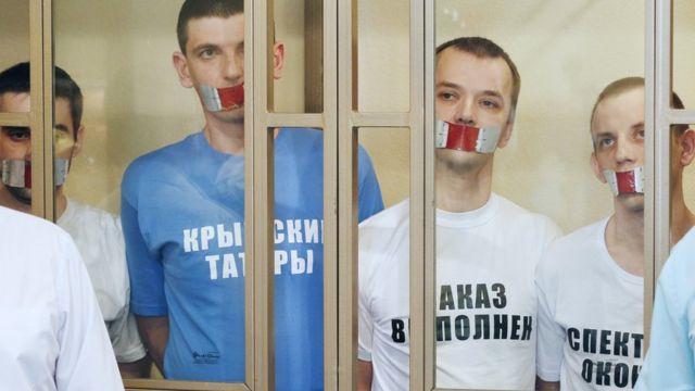 Rusya'daki bir Hizb-ut Tahrir davasında yargılanan sanıklar.