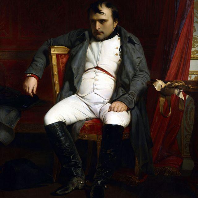 Napoleón en Fontainbleau durante la primera abdicación - abril de 1814 '. Napoleón Bonaparte (1769-1821). (Hippolyte) Paul Delaroche (1797-1859), pintor francés. Óleo sobre lienzo. Musée de l'Armee, París.