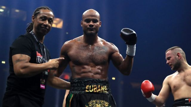 Sebastian Eubank during his bout against Kamil Kulczvk in a Light Heaveyweight contest at the Manchester Arena