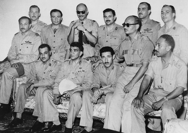 Members of the Revolutionary Command Council in a souvenir photo in 1953