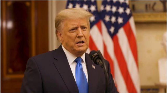 """美国总统特朗普在离任前发表了告别演说,他说,""""我们做了我们要做的事情——以及更多。"""""""
