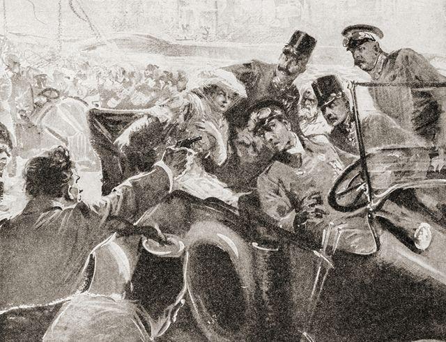 Ilustração do assassinato do arquiduque Francisco Ferdinando em Sarajevo, em 1914