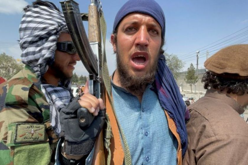 Taliban forces in Kabul in photo from 31 August