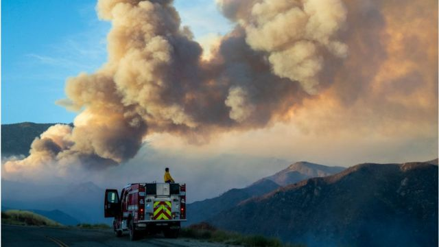 A wildfire rages in California