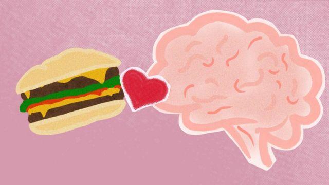 رسم تجريدي للدماغ البشري وبرغر يربطهما قلب حب
