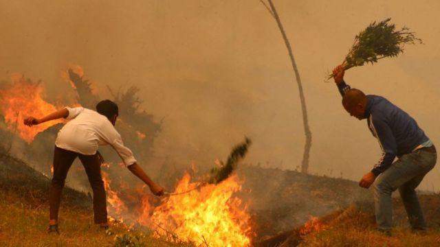 尼泊尔西部Baglung区的居民扑灭森林大火
