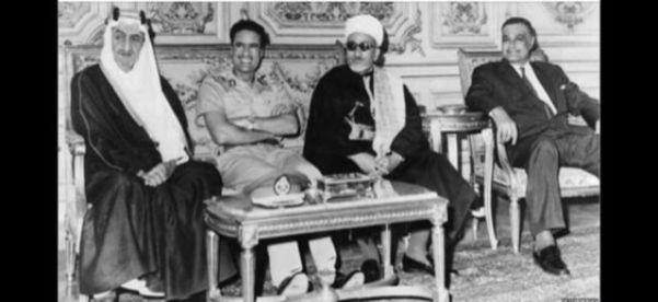 Справа: Абдель Насер, Аль-Эриани, Каддафи и Фейсал.