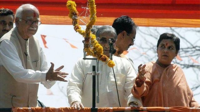 Lal Krishna Advani (left) and Uma Bharti (right) waged a judicial struggle that spanned several years.