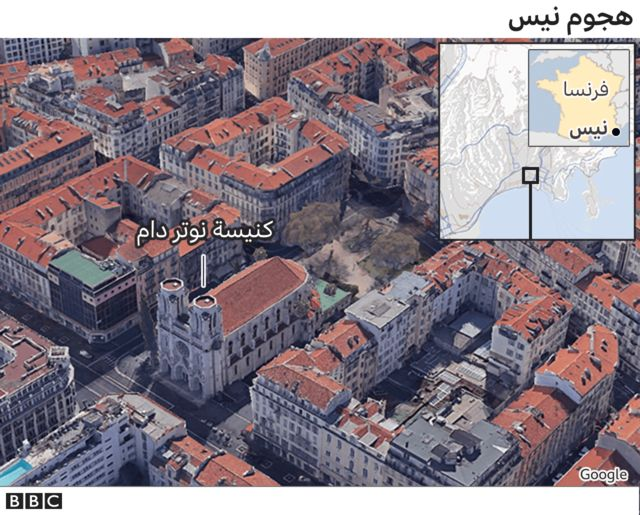 A Google screenshot identifying the location of the Church of Rotterdam, and in the frame, a map identifying the location of Nice, southern France.
