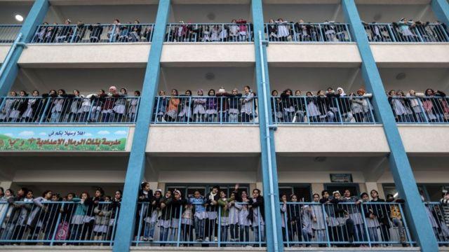 Palestinian girls at a UN-run school in Gaza City January 2018