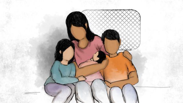 Imagen del reencuentro de la madre con sus hijos