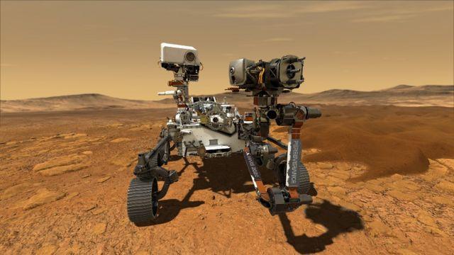 Ilustración que muestra a Perseverance en la superficie de Marte