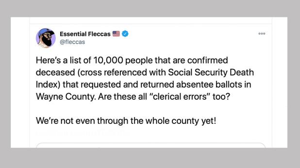 تغريدة لناشط مؤيد لترامب تزعم بوجود عشرة آلاف ميت بين من صوتوا غيابيا في ولاية مشيغان