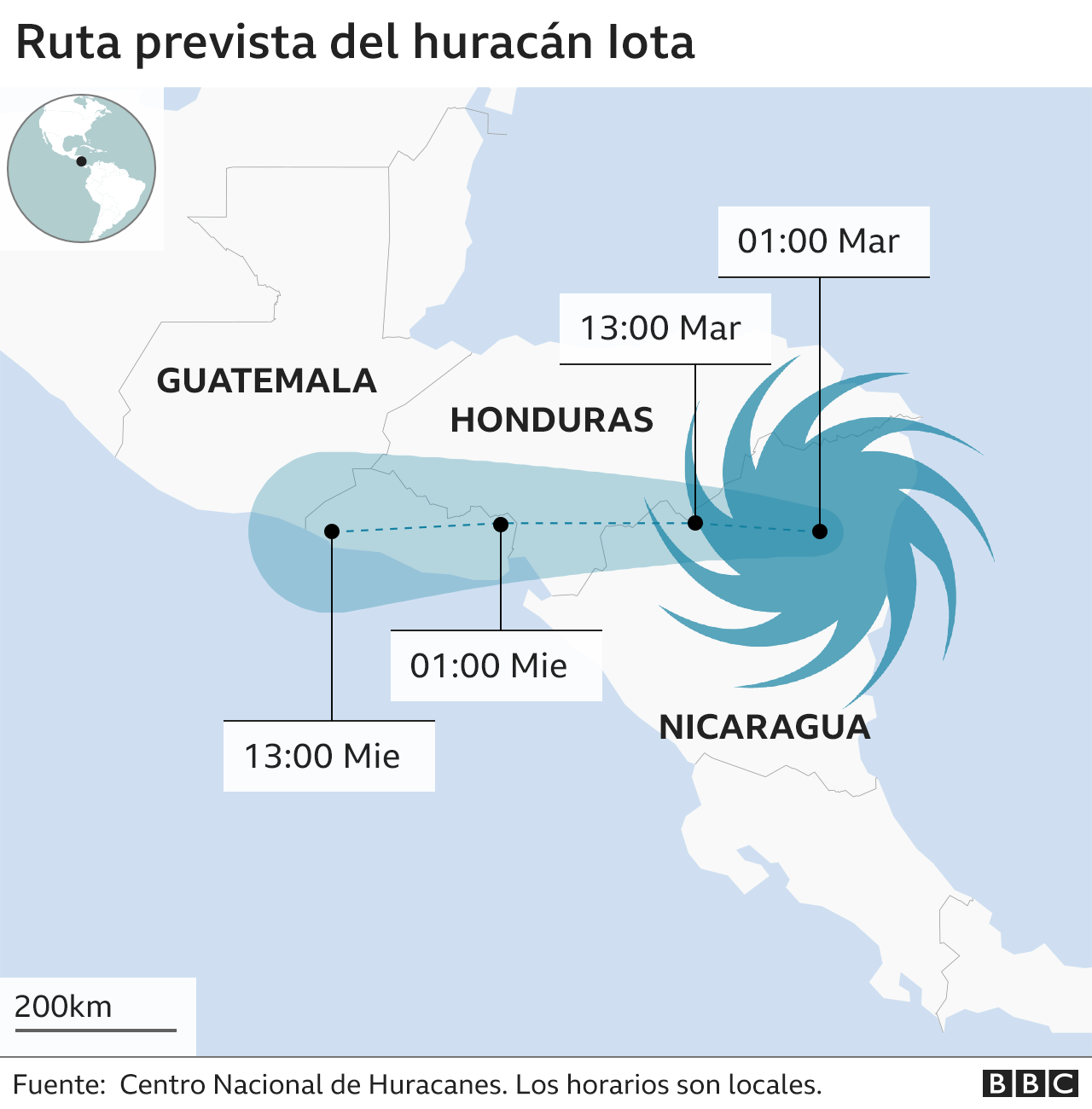 Mapa de la trayectoria del huracán Iota