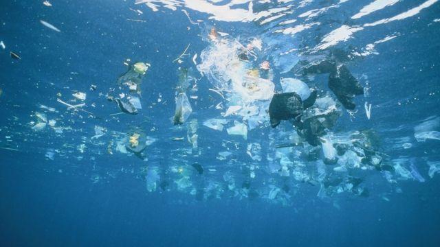 Plastic in an ocean
