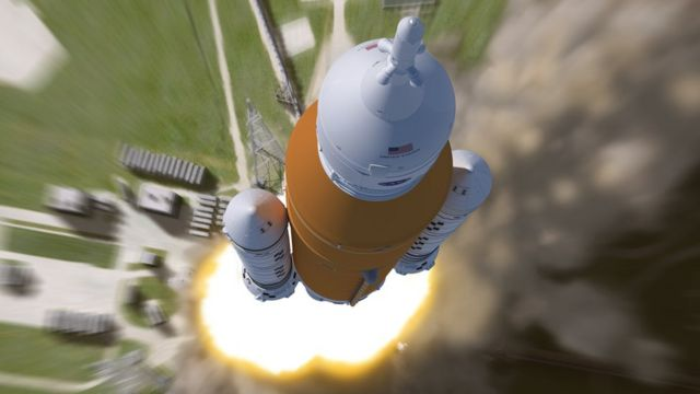 SLS leaves the launchpad