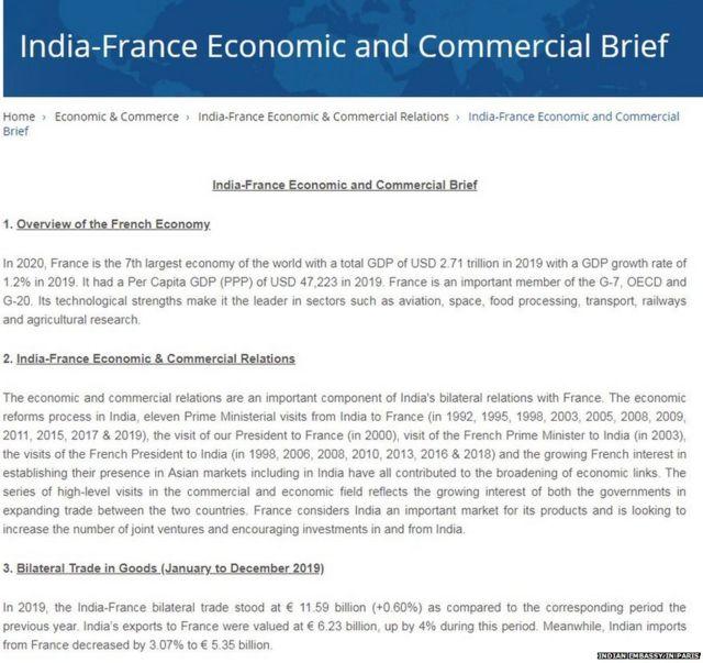 भारत फ़्रांस व्यापार