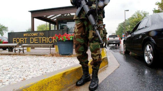 Personal militar en la base de Fort Detrick