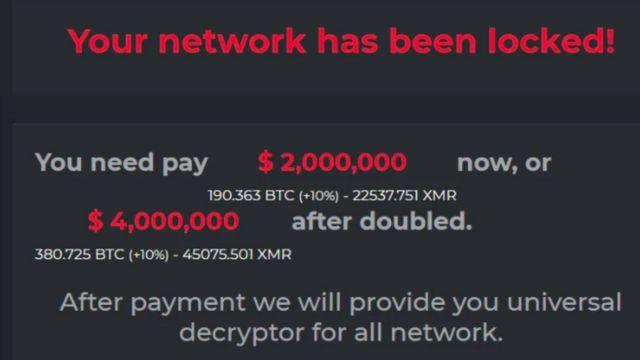 다크사이드의 랜섬웨어 해킹 피해자의 화면에 나타난 돈을 요구하는 내용의 문구