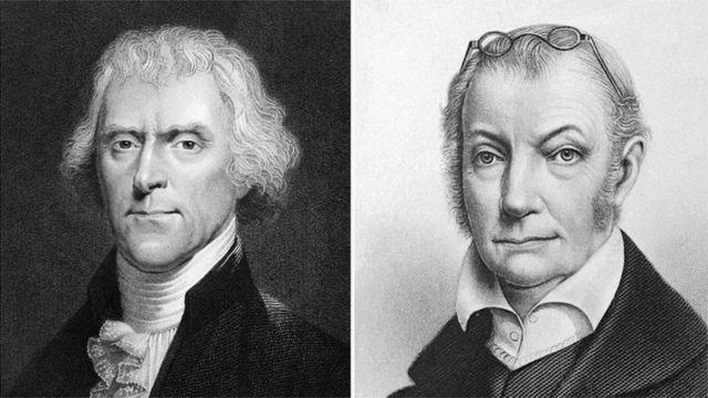 Thomas Jefferson (i bubamfu) na Aaron Burr barahanganye bikomeye mu matora ya mbere yabayemwo impari muri Amerika