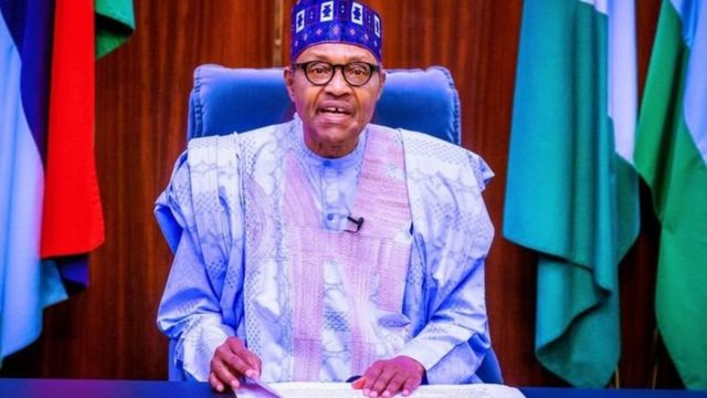 Shugaba Muhammadu Buhari yayin da yake gabatar da jawabi ga 'yan Najeriya